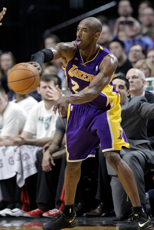 . Los Angeles Lakers guard Kobe Bryant is shown during the second half of an NBA basketball game against the Portland Trail Blazers in Portland, Ore., Wednesday, April 10, 2013.  Bryant scored 47 points as the Lakers won 113-106.(AP Photo/Don Ryan)