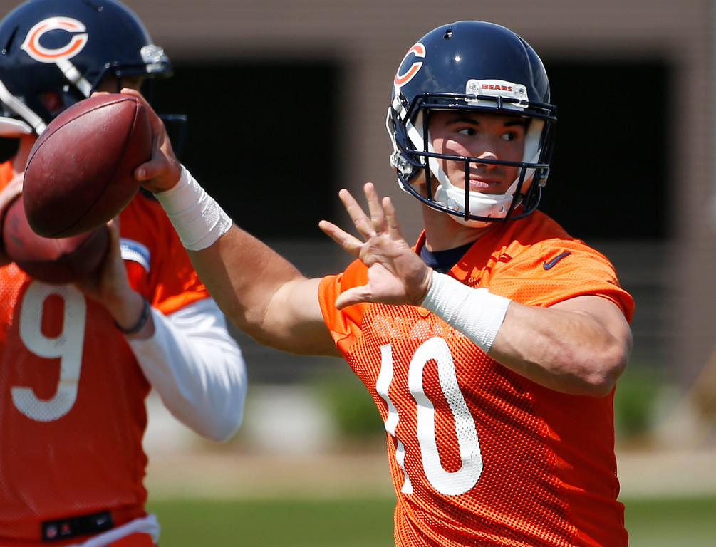 . Chicago Bears quarterback Mitchell Trubisky looks to pass during NFL football rookie minicamp in Lake Forest, Ill., Friday, May 12, 2017. (AP Photo/Nam Y. Huh)