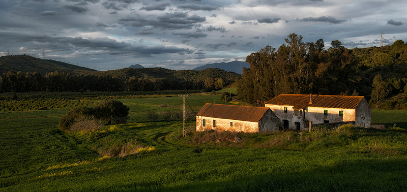 An old abandoned farm house.