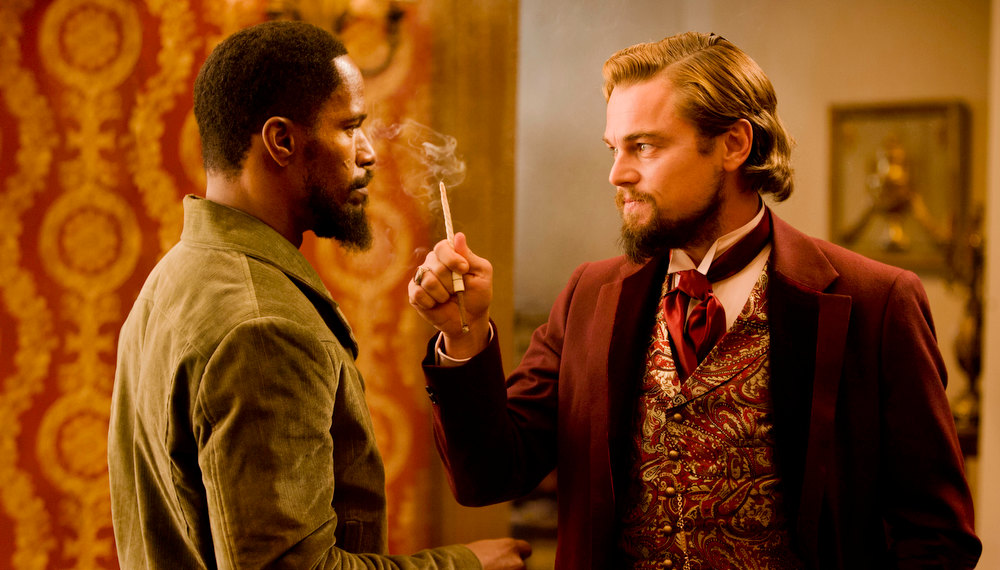 ". In this undated publicity file photo released by The Weinstein Company, from left, Jamie Foxx and Leonardo DiCaprio star in the film, ""Django Unchained,\"" directed by Quentin Tarantino.  (AP Photo/The Weinstein Company, Andrew Coope, File)"
