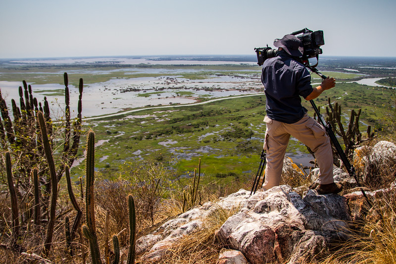 Filming the Pantanal from the Amolar mountains, matogrossense national park, Pantanal, Brazil.