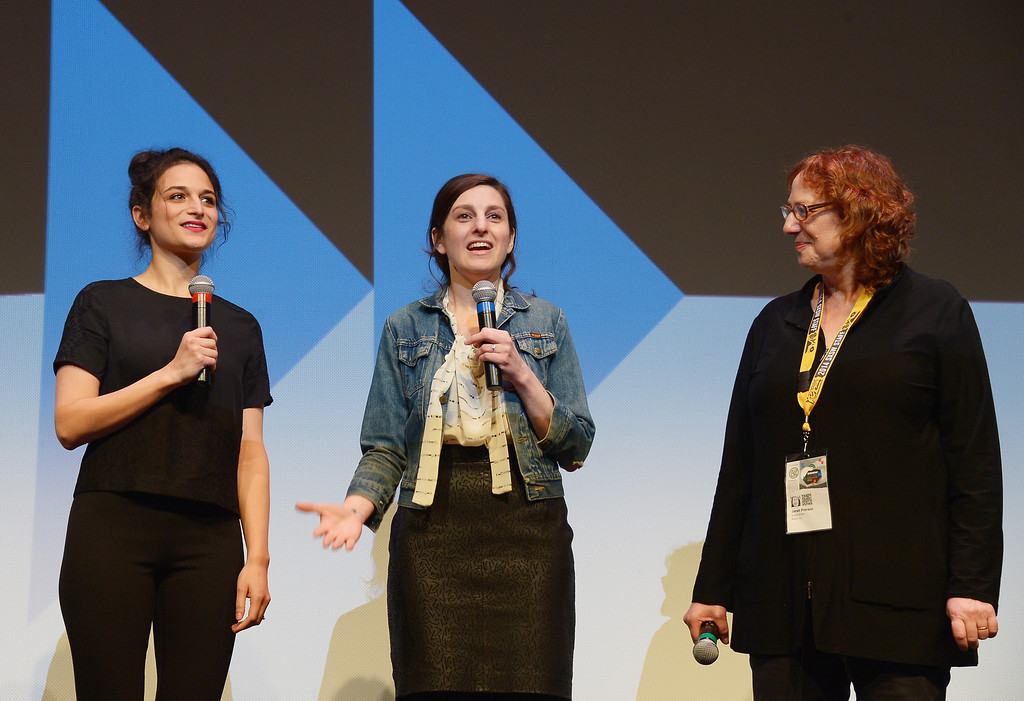 """. (L-R) Comedians/actress Jenny Slate, filmmaker Gillian Robespierre, and SXSW Film Festival Director Janet Pierson takes part in a Q&A following the \""""Obvious Child\"""" Premiere during the 2014 SXSW Music, Film + Interactive Festival at the Topfer Theatre at ZACH on March 9, 2014 in Austin, Texas.  (Photo by Michael Loccisano/Getty Images for SXSW)"""