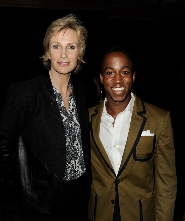 ". Actress Jane Lynch (L) and honoree Lenworth Poyser pose at ""An Evening\"" benifiting The L.A. Gay & Lesbian Center at the Beverly Wilshire Hotel on March 21, 2013 in Beverly Hills, California.  (Photo by Kevin Winter/Getty Images)"