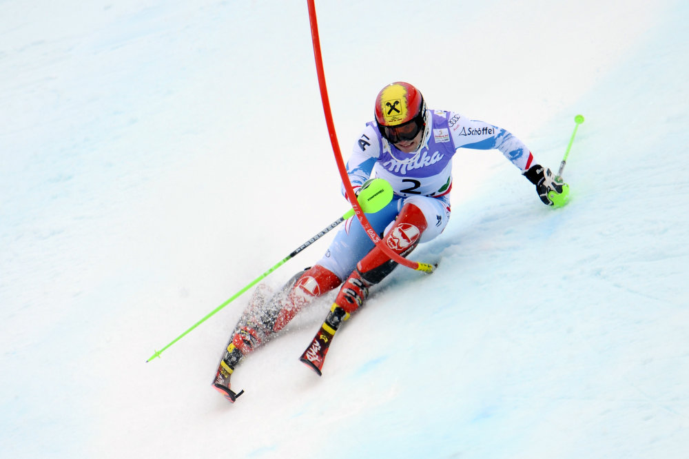 Description of . Marcel Hirscher of Austria wins the gold medal during the Audi FIS Alpine Ski World Championships Men\'s Slalom on February 17, 2013 in Schladming, Austria. (Photo by Alain Grosclaude/Agence Zoom/Getty Images)