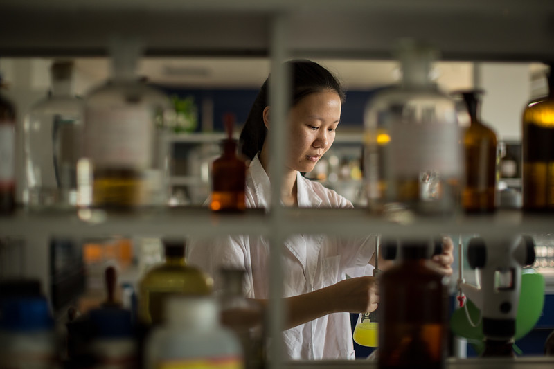 A technician works in the Zhuhai Water Group's water quality monitoring facility in Zhuhai, Guangdong Province, China.