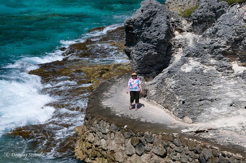 Louise on a walkway at Punta Sur