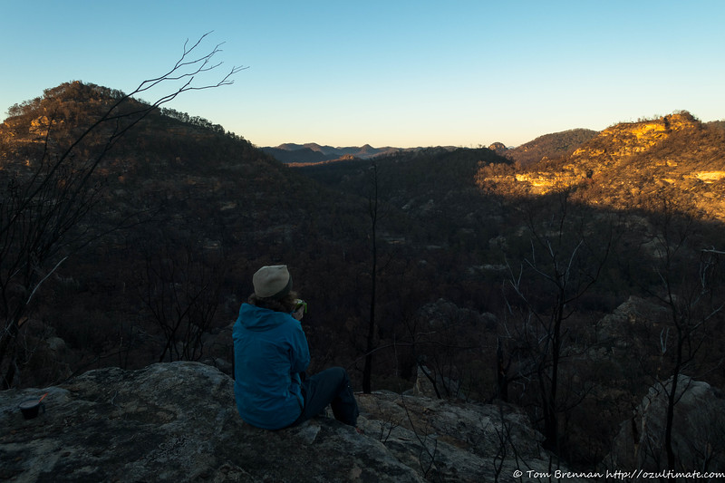 Rachel enjoying the morning light on the cliffs