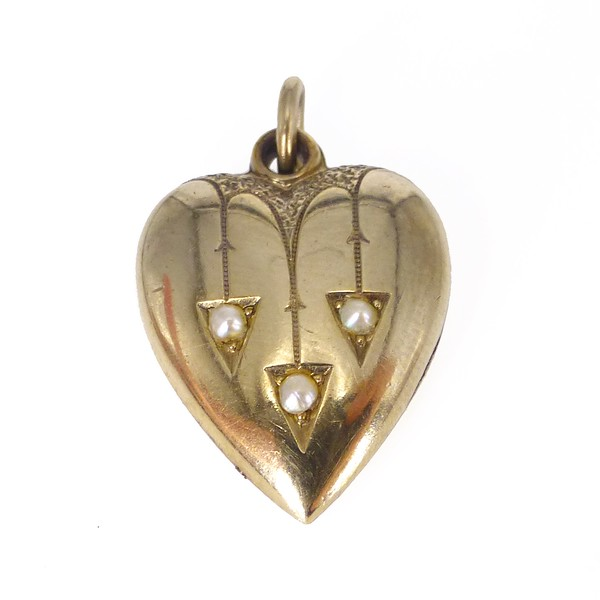Antique Edwardian Rolled Gold Pearl Heart Charm Pendant