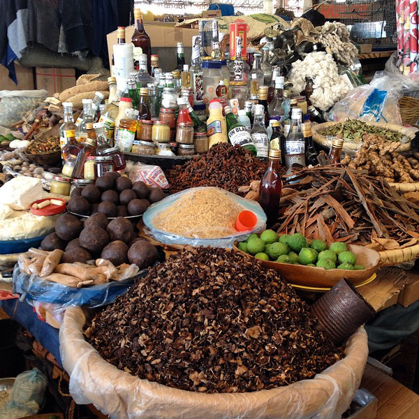 A typical spice market spread at the Marché en Fer (Iron Market), Port-au-Prince. Everything from dried mushrooms to the makings for Haitian chokolat including bergamot, the shriveled lime-like fruit, and fèy bwadin (leaves). Markets make the world go 'round. In Haiti, too. via Instagram http://ift.tt/1tqmOnO