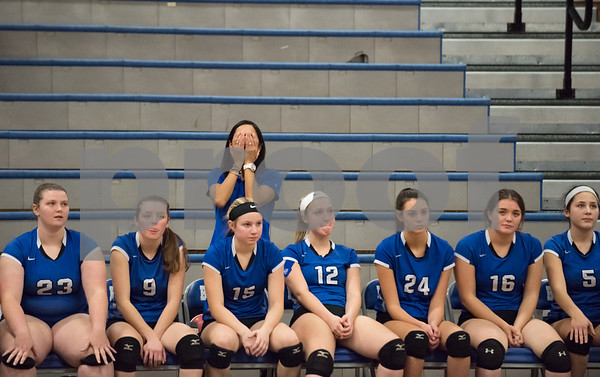 11/15/17 Wesley Bunnell | Staff Southington girls volleyball vs Greenwich in a semi final match played at Bunnell High School in Stratford on Wednesday evening. A Southington assistant coaches covers her eyes after a play standing behind the bench late in the match.