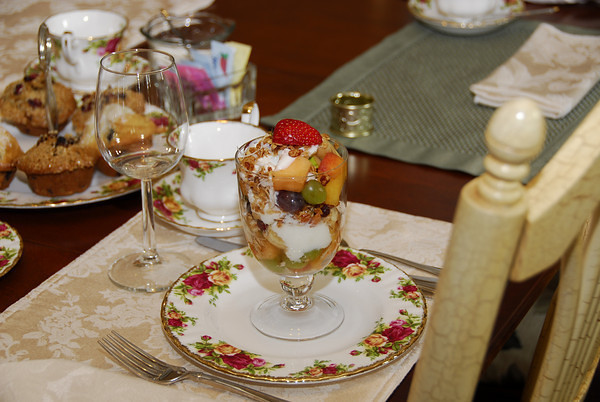 Our breakfast service begins with a delicious yogurt parfait, with homemade granola, and seasonal fresh fruit