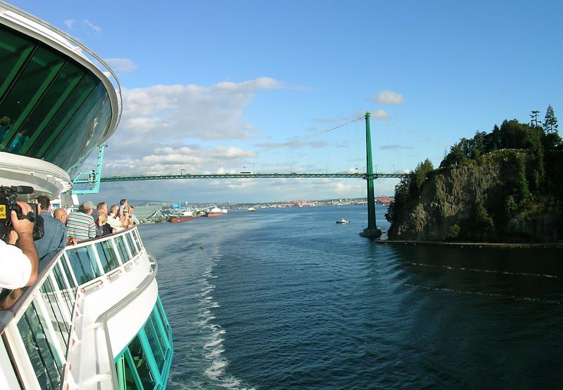 Passing below the Granville Street Bridge and Vancouver's north peninsula.