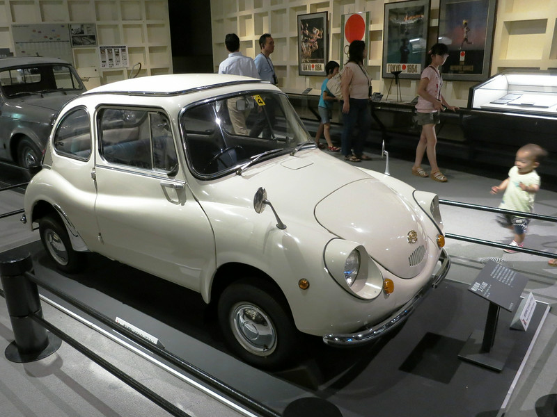 "The first Japanese ""light car,"" a Subaru 360. Marketed from March 3, 1958 to 1971."