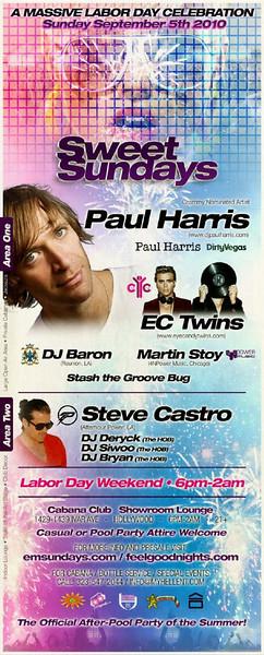 Sweet Sundays w/ Paul Harris & EC Twins @ Cabana Club 9.5.10