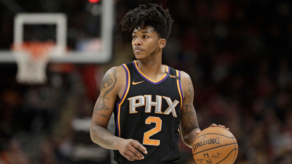 . Phoenix Suns\' Elfrid Payton drives against the Cleveland Cavaliers in the first half of an NBA basketball game, Friday, March 23, 2018, in Cleveland. (AP Photo/Tony Dejak)