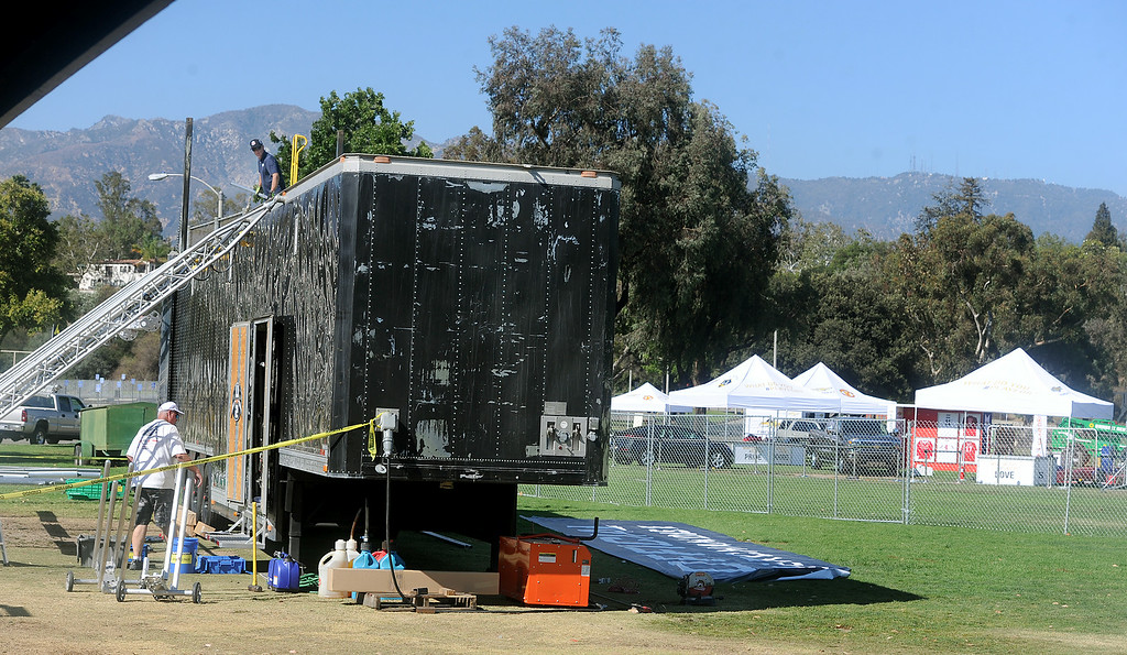 . Adjacent to the Rose Bowl, vendors preparing for festiviities before the international soccer match Wednesday, July 23, 2014 between LA Galaxy and Manchester United Monday, July 21, 2014. (Photo by Walt Mancini/Pasadena Star-News)