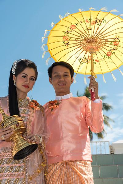 Portrait of Burmese newlyweds, Myanmar
