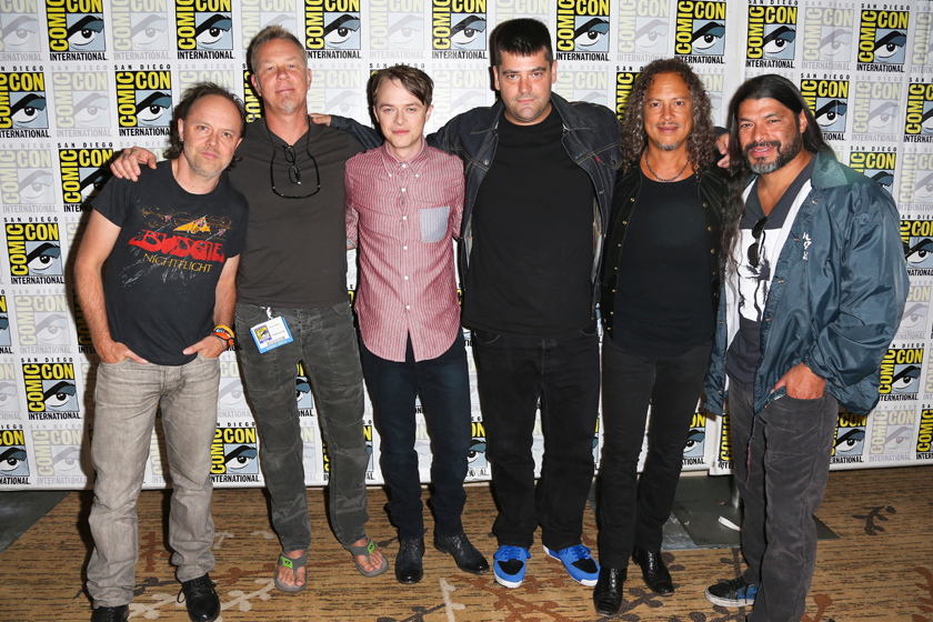 """Description of . Members of the cast of """"Metallica: Through the Never"""" appeared at the San Diego Comic-Con. From left: Lars Ulrich, James Hetfield, Dane DeHaan, Nimrod Antal, Kirk Hammett and Robert Trujillo."""