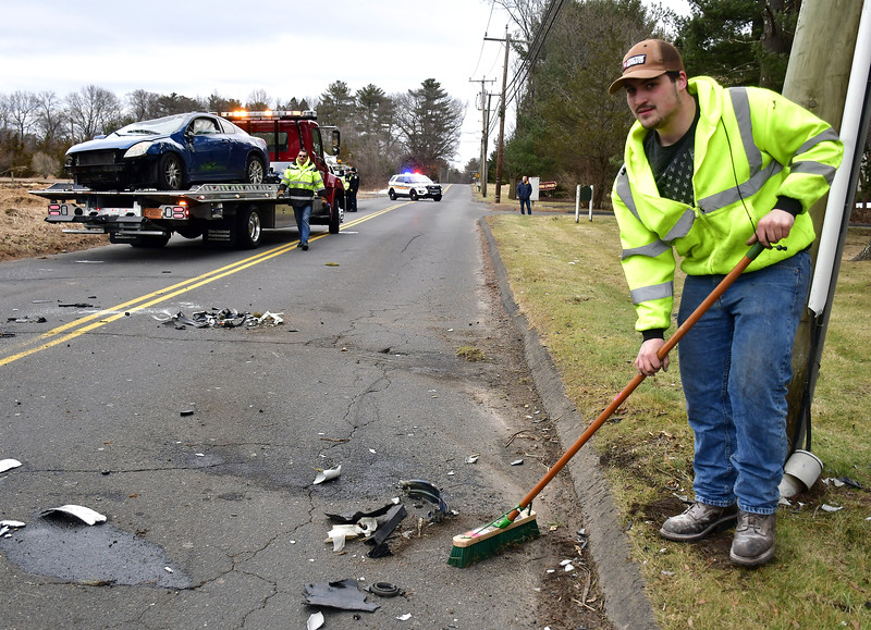 1/28/2020 Mike Orazzi | Staff The scene of a one-car rollover crash on Bradley Street in Plainville near the intersection with Camp Street.