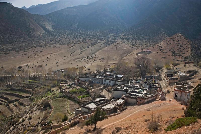 Overview of Gurung village in Samar. Mustang, Nepal.
