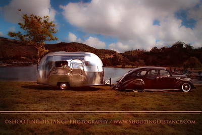Ready for the Road in a Lincoln Zephyr towing a Brand New 1948 Airstream Wee Wind