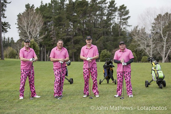 Photo of the Duffers in their pink course attire playing golf at Judgeford Golf Course, Wellington, New Zealand on 6 September 2014. Photo: john.mathews@xtra.co.nz