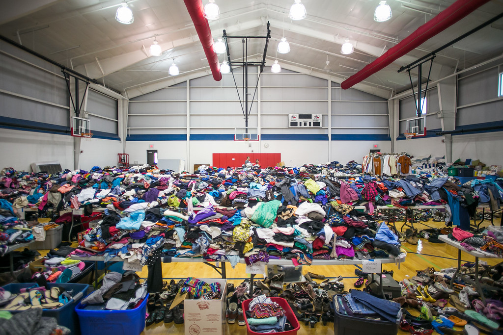 . Clothes and other flood relief supplies are gathered at Wimberley High School May 26, 2015 in Wimberley, Texas. Central Texas has been hit with severe weather, including catastrophic flooding and tornadoes over the past several days. (Photo by Drew Anthony Smith/Getty Images)