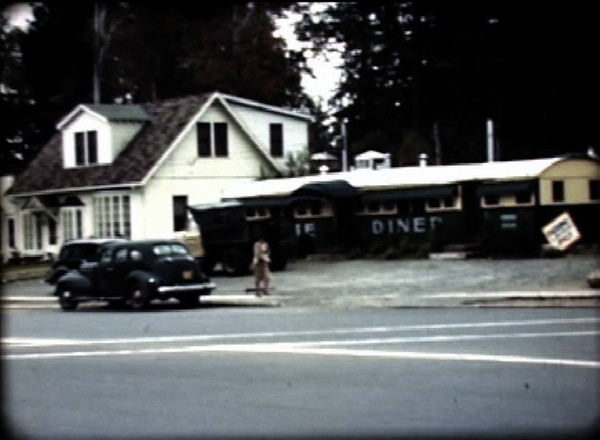 The Home Diner from a frame of the 1948 film. Owned and run by the Marnett Family. Part of the house next to the diner still stands inside of the current building shown in the next photo.