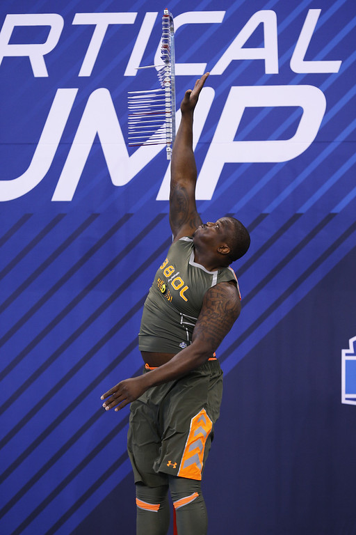 . Former Auburn offensive lineman Greg Robinson takes part in the vertical jump drill during the 2014 NFL Combine at Lucas Oil Stadium on February 22, 2014 in Indianapolis, Indiana. (Photo by Joe Robbins/Getty Images)