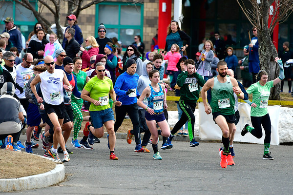 3/16/2019 MIke Orazzi | Staff The start of the 5 Mile Run at the 17th Annual Shamrock Run & Walk at Chippens Hill Middle School on Saturday in Bristol.