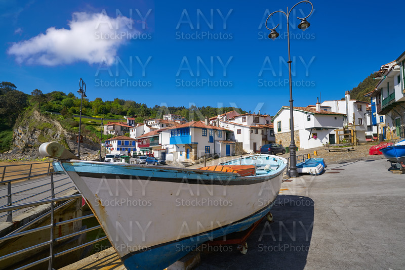 Tazones village facades and boat Asturias Spain