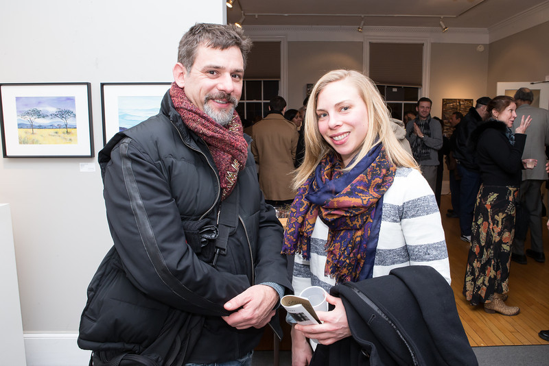 Jennie Buehler, Jeffrey Winter. Photo by Alfredo Flores. Opening Reception for Edward Bear Miller Exhibit. Foundry Gala. January 4, 2013.
