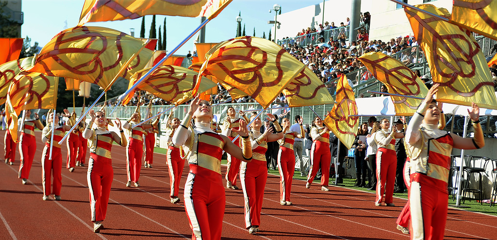 . Pasadena City College Tournament of Roses Honor Band and Herald Trumpets at 2015 Bandfest at Pasadena City College. (Photo by Walt Mancini/Pasadena Star-News)