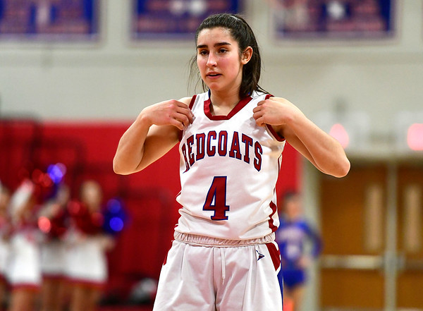 2/26/2019 Mike Orazzi   Staff Berlins Lyzi Litwinko (4) during the CIAC 2019 State Girls Basketball Tournament with Plainville at Berlin High School Tuesday night.