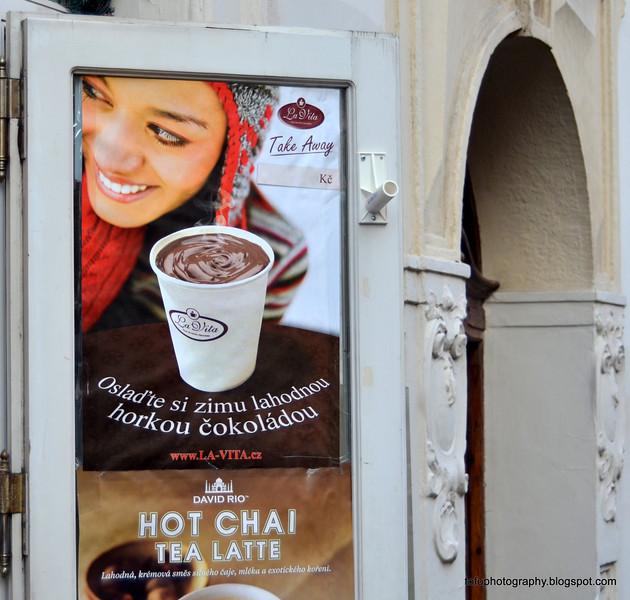 Coffee and hot chai tea latte sign in Prague, Czech Republic, in February 2014