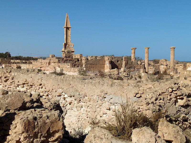 Mausoleum of Bes amongst the ruins at Sabratha.