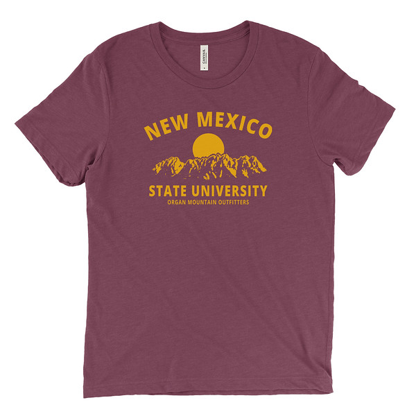 Organ Mountain Outfitters - Outdoor Apparel - Mens T-Shirt - New Mexico State University NMSU Tee - Aggie Maroon Golden Yellow.jpg