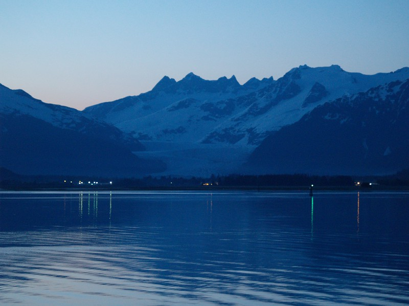 Early May sunset - Mendenhall Glacier across the north end of Gastineau Channel where it meets Fritz Cove