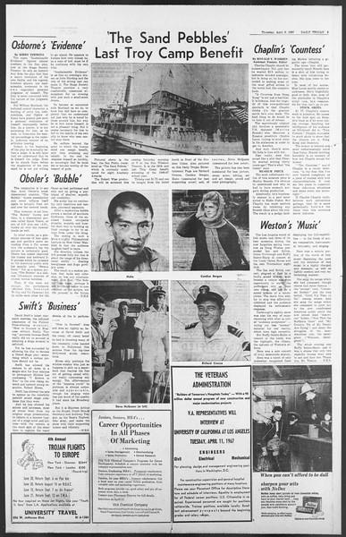 Daily Trojan, Vol. 58, No. 100, April 06, 1967