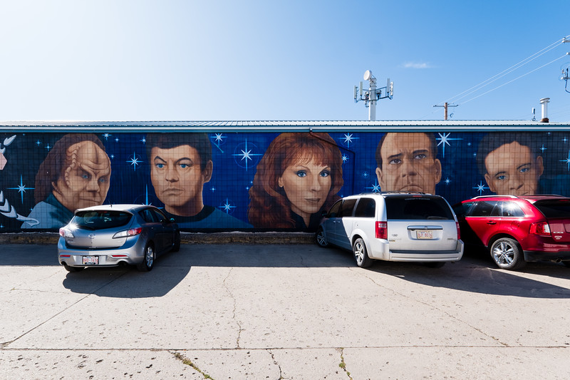 "One of the town's murals: ""The StarTrek Doctors"""