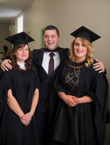 04/11/2016. Waterford Institute of Technology (WIT) Conferring Ceremonies November 2016. Pictured are Caroline Kirwan, Killenaule, Co. Tipperary, Brian Moloney, Rosegreen, Co. Tipperary and Niamh Harte from Offally.  Picture: Patrick Browne