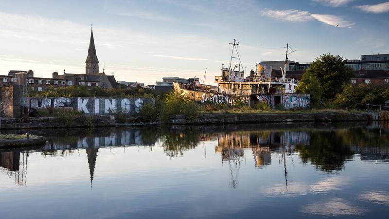 Derelict boat in #Dublin Docklands