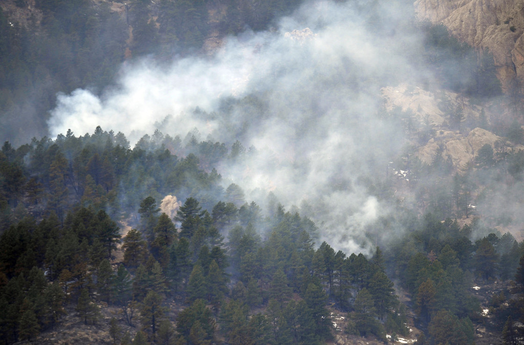 . FORT COLLINS, CO. - MARCH 16: The Galena wildfire in Larimer County pushed west overnight through Lory State Park, driven by wind gusts reaching 45 mph. The fire is still at 5 percent containment. Fort Collins, Colorado. March 16, 2013. (Photo By Hyoung Chang/The Denver Post)