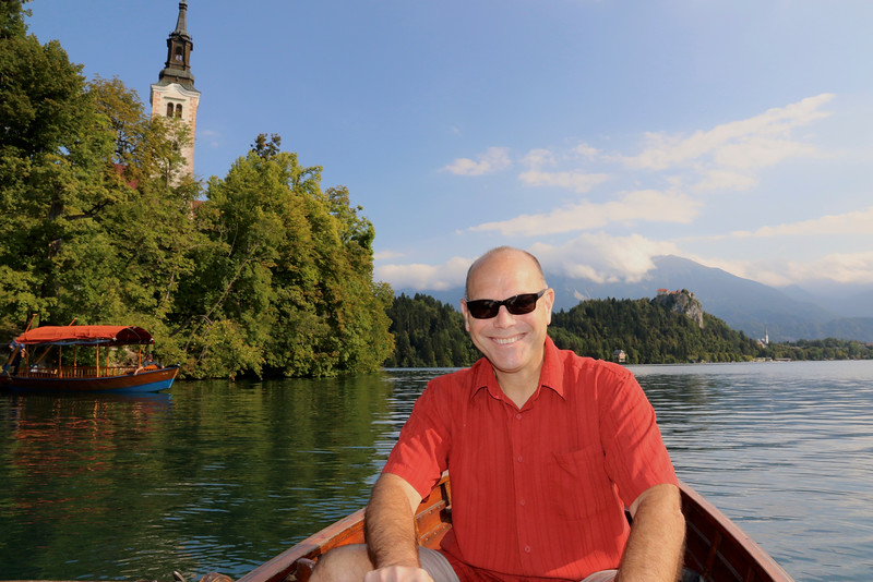 Sully rowing us out to the small islet in Lake Bled, home to the 17th century Church of the Assumption