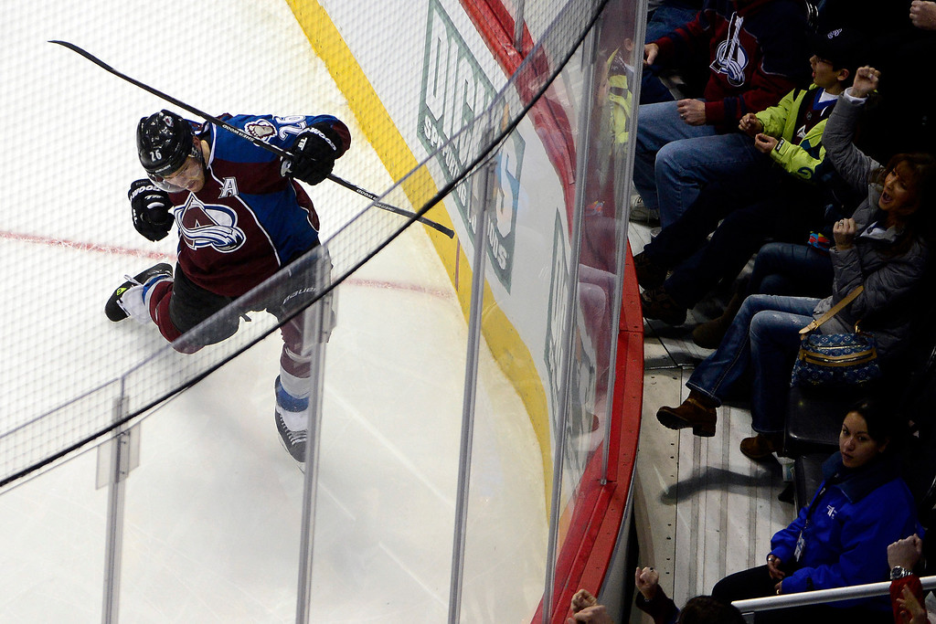 . Paul Stastny (26) of the Colorado Avalanche celebrates a goal against the Nashville Predators during the second period of action. The Colorado Avalanche take on the Nashville Predators at the Pepsi Center on February 18, 2013. (Photo By AAron Ontiveroz/The Denver Post)