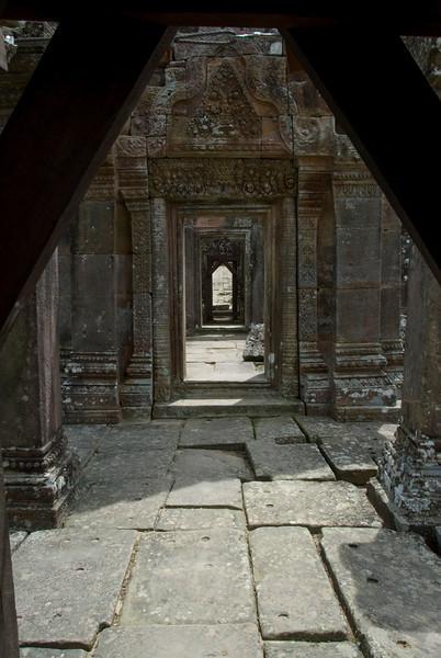 Series of doorways inside the Middle Ruins in Preah Vihear Temple