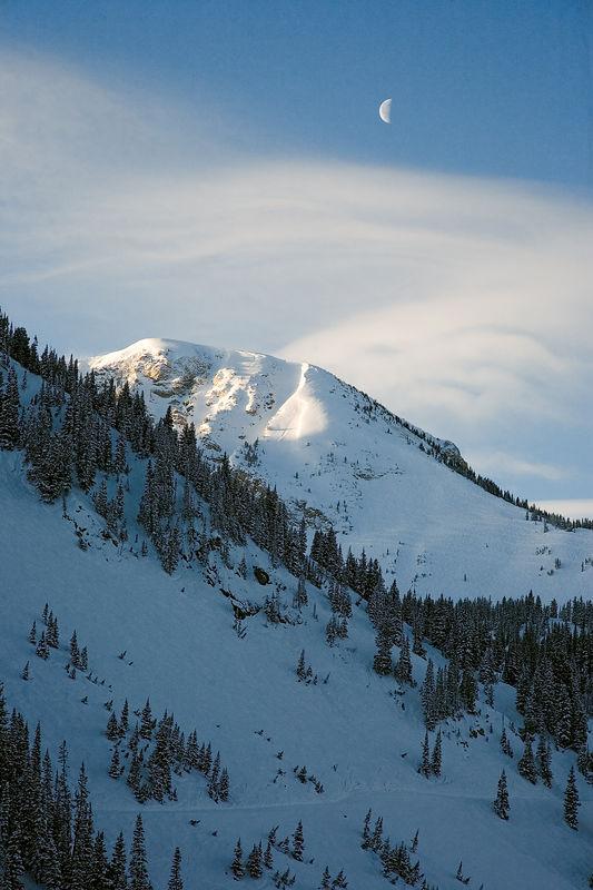Moonset & Dawn Light, Mt. Baldy  Alta, Utah 7:34 am 21 February 2003