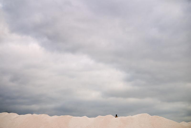 Man on grain hills