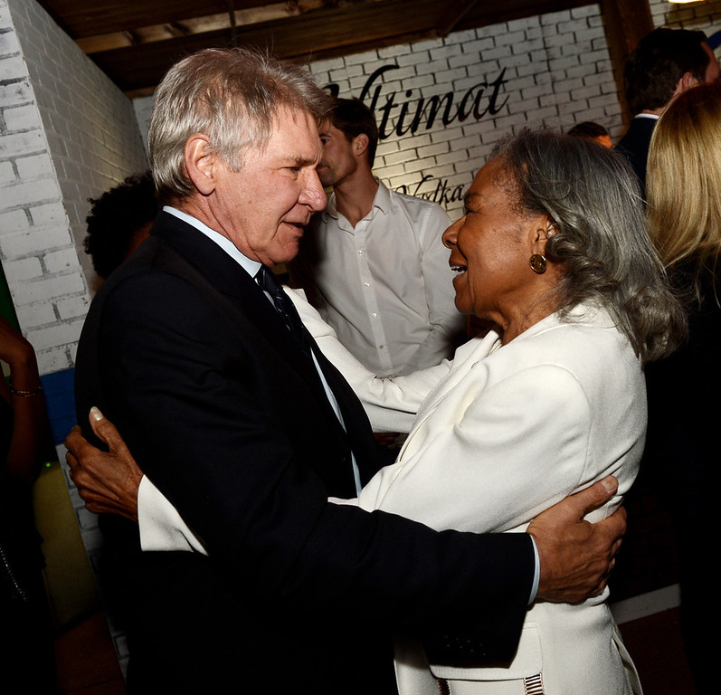 """. Actor Harrison Ford (L) and Jackie Robinson\'s widow Rachel Robinson talk at the after party for the premiere of Warner Bros. Pictures\' and Legendary Pictures\' \""""42\"""" at the Chinese Theatre on April 9, 2013 in Los Angeles, California.  (Photo by Kevin Winter/Getty Images)"""
