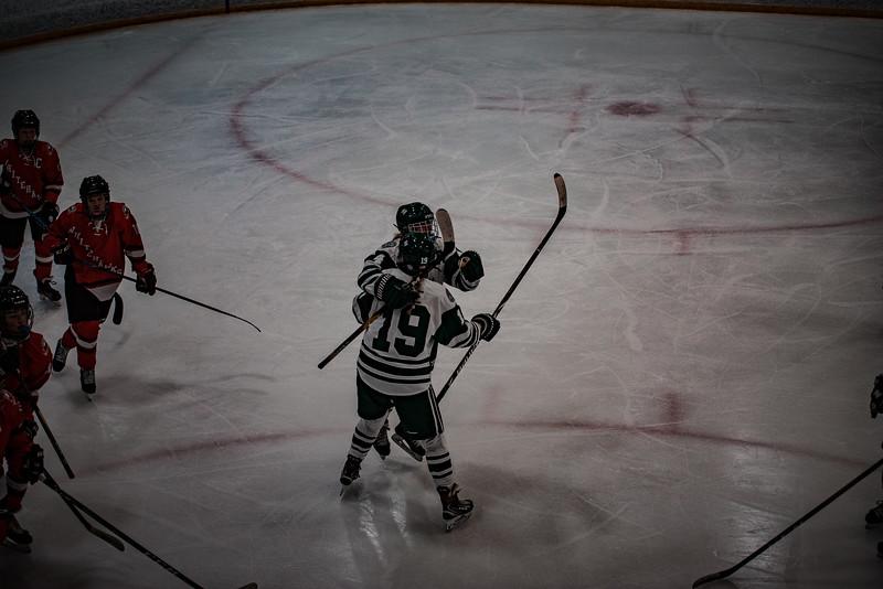Holy Family Girls Varsity Hockey vs. Mound Westonka, 12/10/19: Grayson Limke '23 (19) and Cecily Cronin '20 (4)